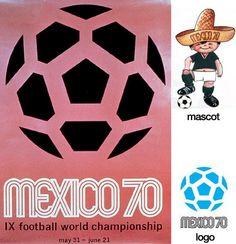Cartel oficial de la Copa del Mundo Mexico 1970 realizado por el diseñador gráfico Lance Wyman - Official poster of the FIFA World Cup Mexico 1970 made by graphic designer Lance Wyman