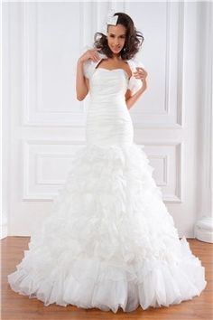 Exquisite Trumpet Strapless Floor-length Tiered Renata's Plus Size Wedding Dress EF46229