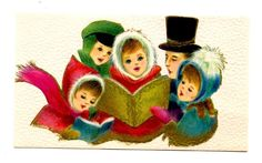 Vintage Christmas Card Greeting Victorian Carolers-Pink-Turquoise-Gold Trim