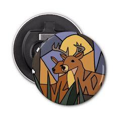 Deer in the Woods Button Bottle Opener #deer #hunting #bottle #opener #art #animals And www.zazzle.com/inspirationrocks*
