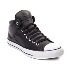 Step up your sneaker style with the new High Street Chucks from Converse! The High Street Sneaker offers a modern design without compromising classic Converse style, featuring a mid-top design constructed with leather uppers, and signature rubber cap toe. Only available at select stores and online at Journeys.com! Available for shipment in November; Pre-order yours today!    Features include   Soft leather upper with breathable textile lining   Lace closure provides a secure fit   Signature…