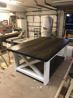 New Never Used - I Custom Build Farmhouse Tables And Coffee Tables 24 Deep 45 Long 17 High White Base Dark Walnut Top And Shelf Matte Finish Farmhouse Kitchen Tables, Diy Dining Table, Farmhouse Furniture, Rustic Furniture, Home Furniture, Business Furniture, White Farmhouse Table, Furniture Stores, Farmhouse Table Plans