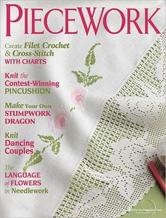 Piecework is a magazine featuring historical perspectives on needlework techniques and patterns from the past, and provides gorgeous patterns re-creating them. This back issue of Piecework is March / April Crochet Cross, Filet Crochet, Crochet Stitches, Knit Crochet, Knitting Magazine, Crochet Magazine, Beading Patterns, Crochet Patterns, Knitting Books