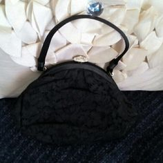 Vintage Rhinestone Lace Bag Size Small/ Note: Bag is missing three rhinestone's Vintage Bags