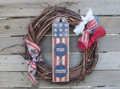 14 Fourth Of July Wreath 4th Of July by CreativeSpacesbyGina, $22.00