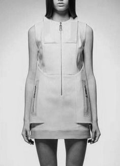 Structured Dress with zipper detail; pattern cutting; contemporary fashion design // Heohwan Simulation