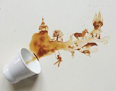 Instagram artist creates amazing art using spilled coffee
