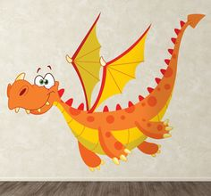 Vinilo infantil dragón alado naranja (tenvinilo.com)