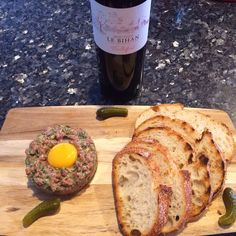 Homemade steak tartare with wine to match. Recipe available at www.le-fermier.com . Wine from www.airoldifinewines.com.au