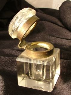 Crystal / Cut Glass Inkwell Brass Hinge with by StonehouseTraders, $33.00