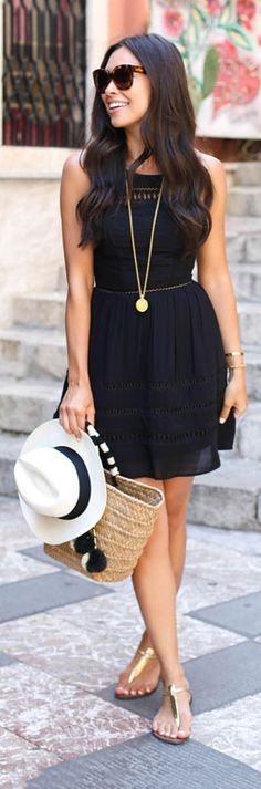 LBD + metallic accessories and sandals