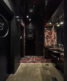 Walking into Dash Kitchen restaurant in Turin, Italy's, San Salvario district might playfully inspire a patron to start humming a song from the disco decade. Designed by Itali. Dash Restaurant, Restaurant Lounge, Dark Lounge, Black Brick Wall, Red Armchair, Nightclub Design, Public Bathrooms, Small Places, Best Beer