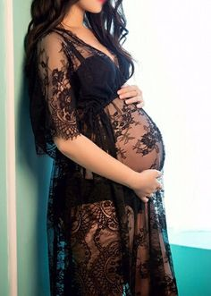 Black Maternity Sexy Lace Dress - Maternity shoot