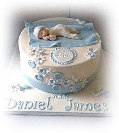 Baby Boy Christening The boyish version of my most popular christening cake Baby Boy Christening Cake, Baby Boy Baptism, Baby Boy Cakes, Cakes For Boys, Baptism Cakes, Baby Boy Birthday Cake, Gateau Baby Shower, Baby Shower Cakes, Baby Shower Themes