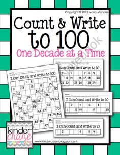 Count and Write to 100 One Decade at a Time product from Kinder-Craze on TeachersNotebook.com