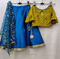 298fc37b2aea53 Kids lehnga choli dupatta Indian designer ethnic girl kid festival party  wear blue green blouse dres