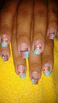Vɨʋɨaռa May Nails, Hair And Nails, Nails 2017, Nail Time, French Tip Nails, Toe Nail Designs, Fabulous Nails, Flower Nails, Creative Nails
