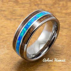 Tungsten Opal Ring With Koa Wood Inlay (8mm Width, Barrel style)