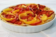 Bell Pepper Quiche is not really a traditional German recipe but my kids like it and this is just great for a hot summer day in Texas.