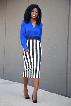 Silk Long Sleeve Blouse   Striped Midi Skirt