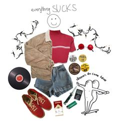 """I miss you sometimes"" by caroline-is-pop-punk ❤ liked on Polyvore featuring American Apparel, Levi's, Vans, Kurt Adler, Joseph Joseph, indie, grunge, 90s and poppunk"