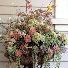 """Lovely!  Thanks to Cottage House on FB for the photo.    """"We all have passed by rusty old floor lamps at garage sales, not any more! Place a moss basket on top and plant it! Now you have a few months to hunt one down for your spring garden!"""""""