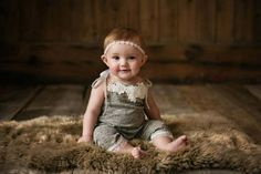 NEW-6-9 months Light Gray-Beige Girl's Romper with by zoik on Etsy