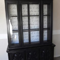 Black painted china cabinet