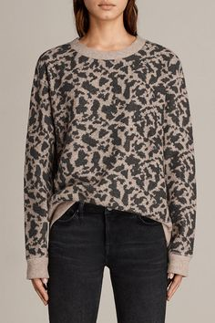e8a1d96c30702 AllSaints New Arrivals  Ani Sweat. The Ani Sweat in an animal jaquard print  features contrasting rib detailing to keep you comfy and cosy.
