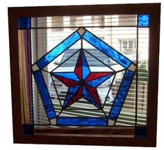 Stained Glass Red and Blue Texas Star in Clear and Blue Pentagon at Jitter Beans Mineral Wells, TX