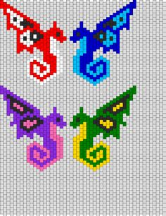 Butterfly Dragons bead pattern http://www.pinterest.com/babsfeasey/beading-peyote-loom-patterns/