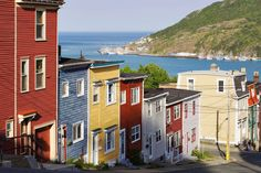 Colorful Houses on Victoria Street, Avalon Peninsula, St. John's, Newfoundland - Yves Marcoux/First Light/Getty Images Newfoundland Canada, Newfoundland And Labrador, Places To Travel, Places To Visit, Pictures Plus, The Beautiful Country, Fishing Villages, What A Wonderful World, St John's