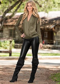 Olive Buckle surplice blouse with faux leather legging from VENUS. Top in sizes XS-XL and bottom in sizes 2-16!