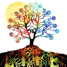 Spiritual Art - Tree Of Life by Sharon Cummngs. #Trees #treeoflife #spiritualart