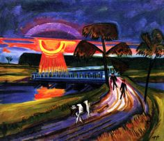 Sunset over Blue Bridge in Leba by Hermann Max Pechstein, circa 1922