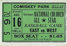 negro league baseball | 1942 All-Star Ticket Document Based Question (Based on Bloom's)