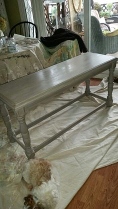 Sofa table after. Painted with Annie Sloan chalk paint French Linen with a white washed top.