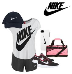 """""""Nike"""" by hinson-hunny ❤ liked on Polyvore featuring NIKE, women's clothing, women's fashion, women, female, woman, misses and juniors"""