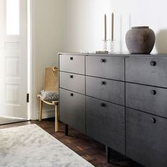 Helsingö: quality kitchens and wardrobes with IKEA cabinets frames. INGARÖ sideboard in Smoke Oak. Side Board, Ikea Furniture, Bathroom Furniture, Henley Homes, Copper Top Table, Ikea Pax Wardrobe, Black Closet, Ikea Cabinets, Kitchen Cabinets