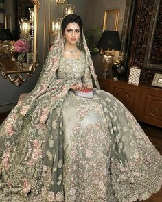 Indian and pakistani style eye catching wedding dress Asian Bridal Dresses, Asian Wedding Dress, Indian Bridal Outfits, Indian Bridal Fashion, Wedding Dresses For Girls, Pakistani Wedding Dresses, Wedding Dress Styles, Bridesmaid Dresses, Walima Dress