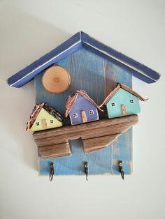 Wooden Wall Decor, Wooden Art, Wooden Walls, Wooden Wheelbarrow, Summer Signs, Driftwood Crafts, Miniature Houses, Little Houses, Painting On Wood