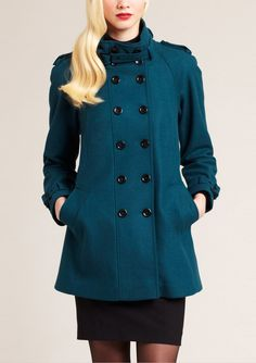 NICOLE MILLER  Wool Blend Double-Breasted Stand Collar Coat