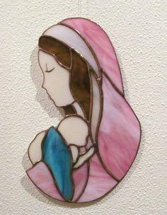 ✥ MATERNITÉ ✥ MADONE ✥ VIERGE A L'ENFANT JESUS ✥ VITRAIL TIFFANY ARTISANAL : Décorations murales par magie-du-vitrail