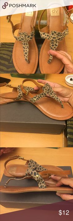 DV Dolce Vita Leopard print suede flat sandals DV Dolce Vita Leopard print suede flat sandals. I have worn them a few times DV by Dolce Vita Shoes Sandals