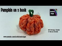 3D PUMPKIN Charm - hook only. Designed and loomed by Kate Schultz at Izzalicious Designs. Click photo for YouTube tutorial. 08/16/14.
