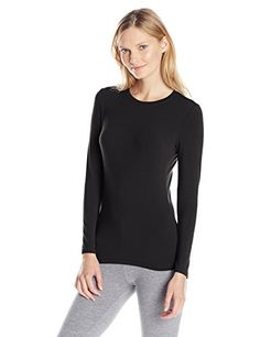 Cuddl Duds Womens Softwear with Stretch Crew Neck Top Black XSmall -- Learn more by visiting the image link.