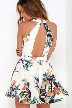 Lahaina Luau Ivory Floral Print Skater Dress at Lulus.com!