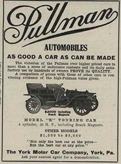 1909 Pullman Model K Touring Car York PA Automobile Magazine Ad