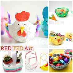 Easter Baskets for Kids to Make - cute, easy and fun. Lots of great different ideas to choose from