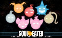 Maka (orange), Soul (gray), Death the Kid (red), Liz and Patty (pink), Black Star (blue), and Tsubaki (brown)